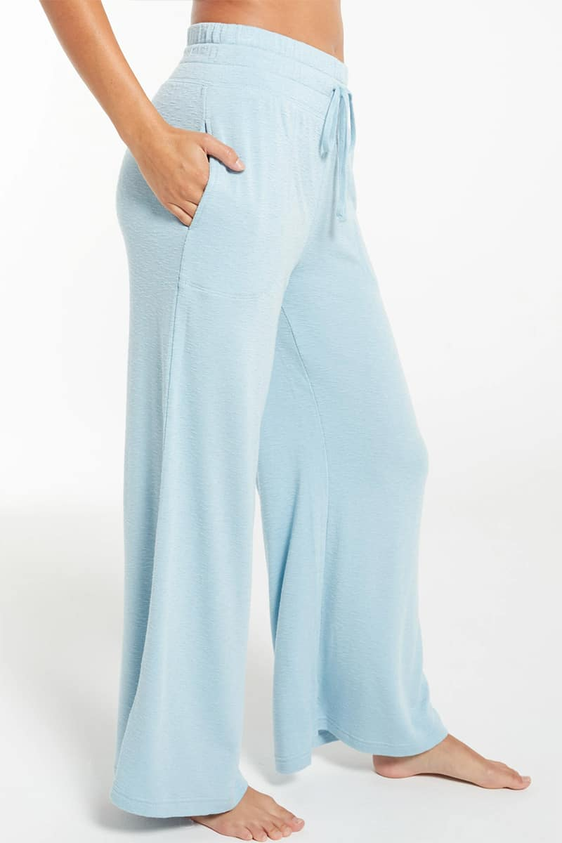 z supply kim terry slub pant in agave blue 82388