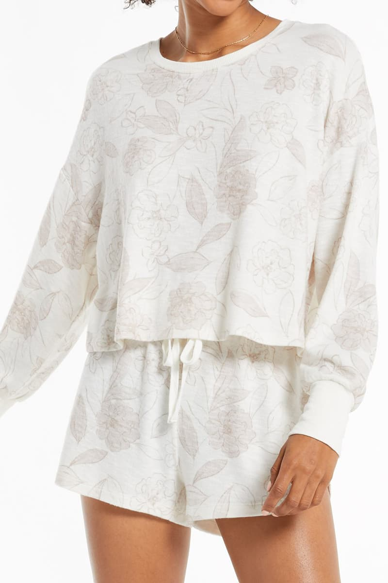 z supply lina floral ls top in bone 92279