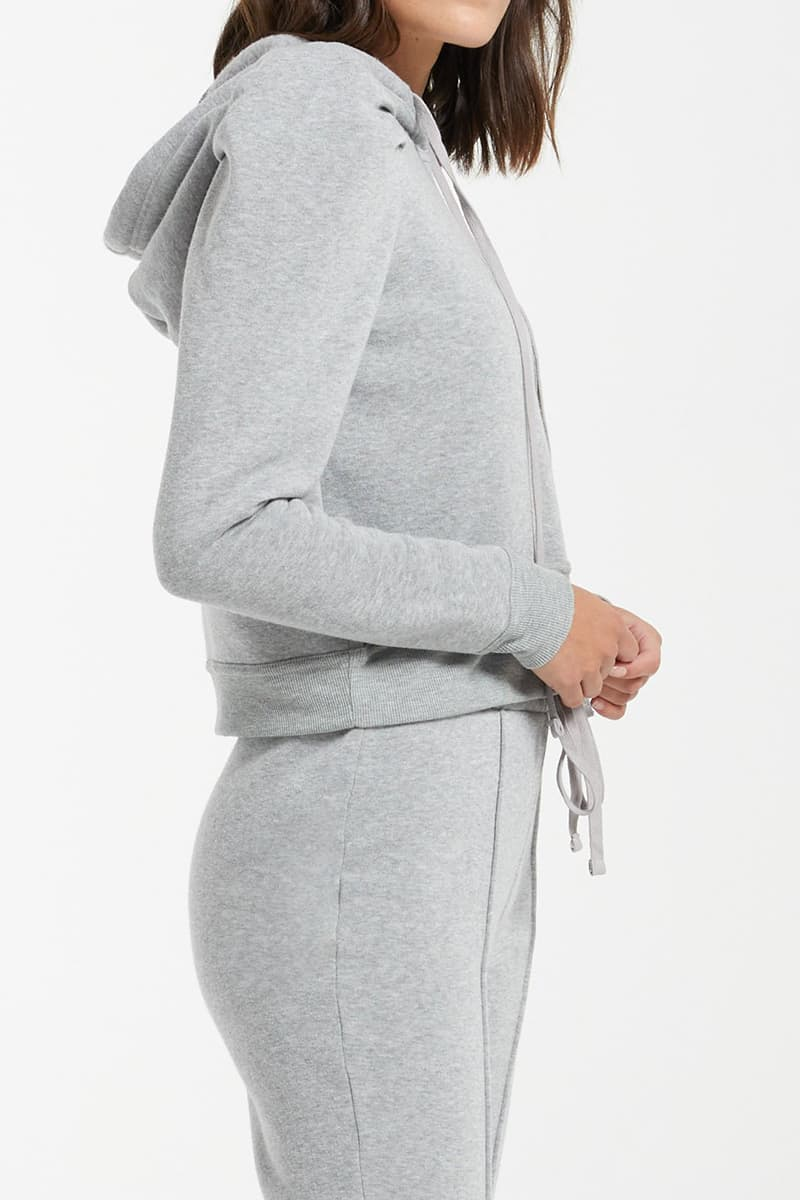 Z Supply Logan Puff Sleeve In Heather Grey 79263