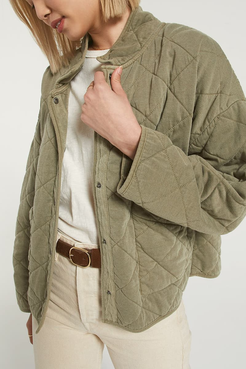 Z Supply Maya Quilted Jacket In Olive 73072