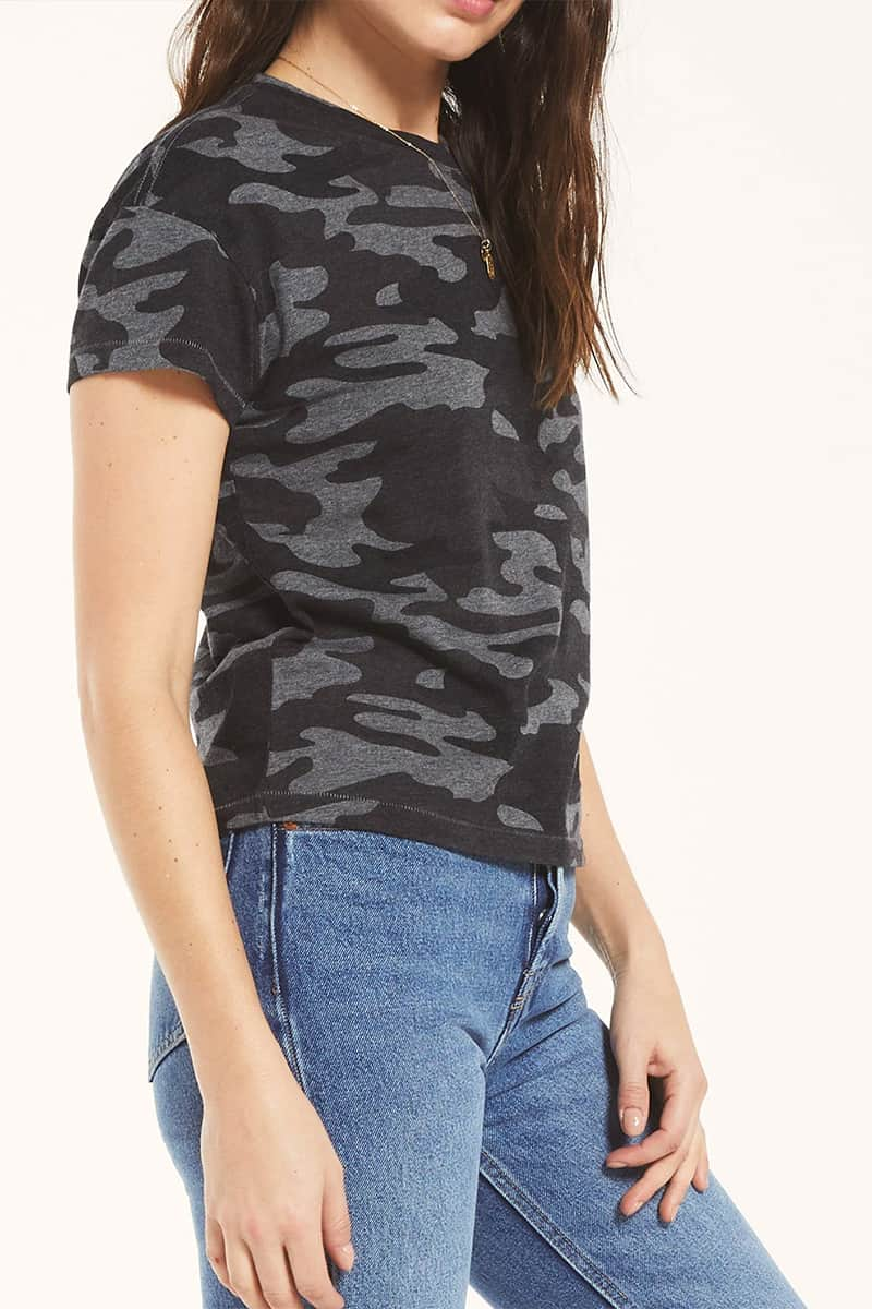 Z Supply Modern Ss Camo Crew In Charcoal 69737