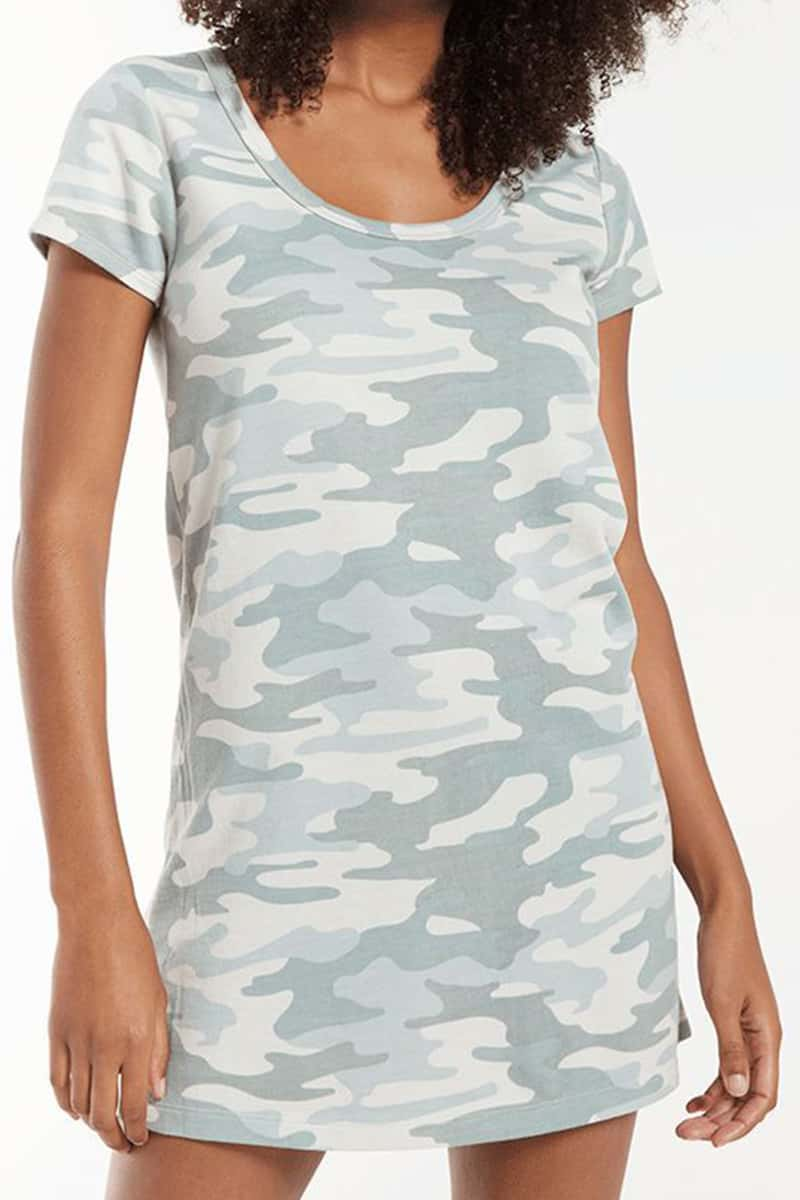 Z Supply Payton Camo Tee Dress In Dusty Sage 81512