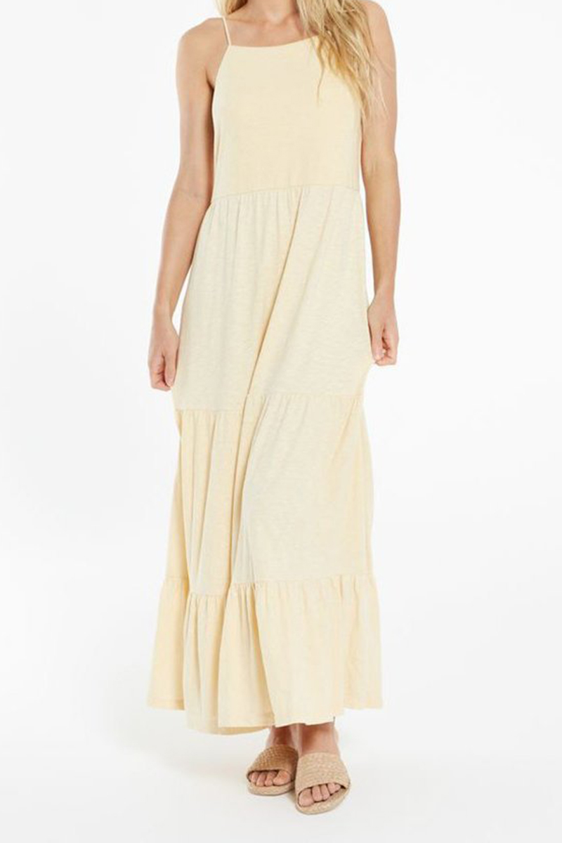 z supply rory tiered dress in washed yellow 87133