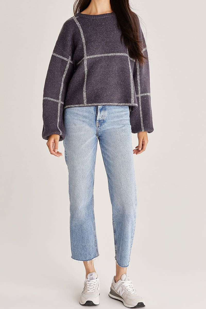 z supply solange plaid sweater in shadow 93876