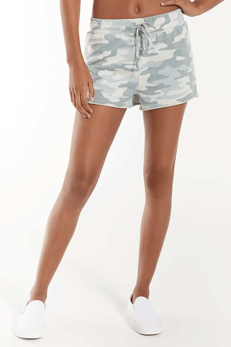 Z Supply Sporty Short In Camo Dusty Sage 81637