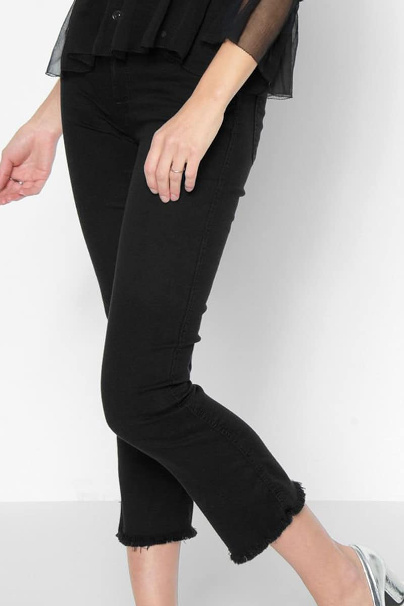 7 For All Mankind Cropped Boot In B Air Black Cotton
