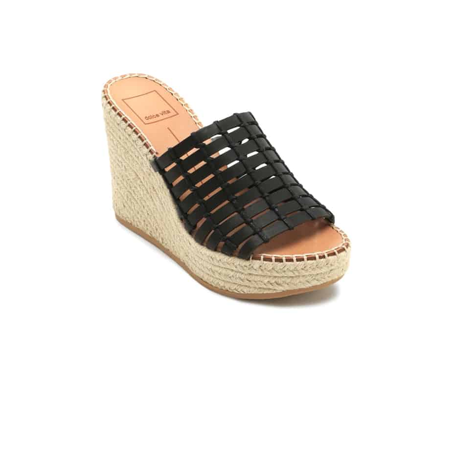 Dolce Vita Prue Wedge Sandal In Black Cotton Island